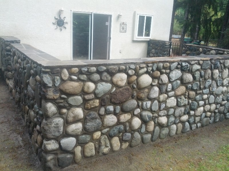 Full bed stone river rock wall west shore stone works for River rock wall
